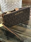 MICHAEL KORS JET SET TRAVEL MK SIGNATURE PVC DOUBLE ZIP WALLET WRISTLET Brown