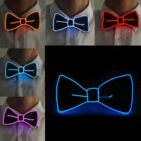 LED Light Up EL Wire Bow Tie Necktie Mens Party Lights Flashing Bowtie Wed EWQ