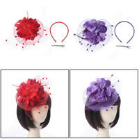 Women's Fascinator Top Hat Flower Mesh Ribbon Feather Headband Party saa