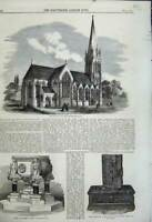 Old Antique Print 1858 Church St Mary Stoke Newington Bible Font Inglis 19th