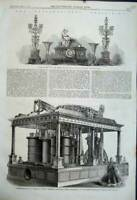 Original Old Antique Print 1862 Paris Clock Candelabra Blast-Engine Lilleshall
