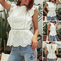 Womens Solid Sleeveless Tops Hollow Floral Party Blouse Cotton Shirt Tee Loose