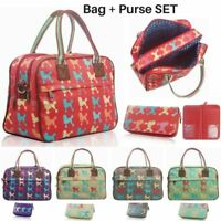 Women's Poodle Dog Oilcloth Handbag Purse SET Girl Matching Canvas Duffel Bag