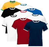Fruit Of The Loom Mens Ringer Plain Crew Neck T-Shirt 100% Cotton