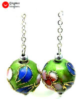SALE Beautiful 12mm Green Round Cloisonne Beads Dangle 1.5'' earring-ear213