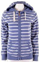 FAT FACE Womens Hoodie Sweater Size 12 Medium Blue Striped Cotton  Q108
