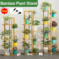 5/6/7-Tier Plant Stand Flower Shelf Indoor Outdoor Bamboo Shelf Garden Display