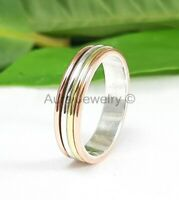 Tri-Tone Sterling Silver Worry Ring Spinner Band Handmade Jewelry - ANY SIZE