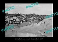 OLD LARGE HISTORIC PHOTO HENLEY BEACH SOUTH AUSTRALIA VIEW OF THE BEACH c1907