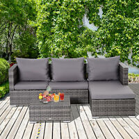 3 Piece Adjustable Seat Rattan Wicker Sofa Set Sleeping Couch Bed Lounge Grey