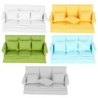 1:12 Doll House Mini Sofa with 3pcs Pillow Living Room Furniture Accessories