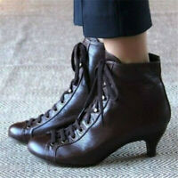 Women's Steampunk Low Heel Boots Ladies Medieval Booties Lace Up Vintage