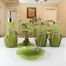 Marvelous Bathroom Accessory Sets In Main Colour Green Ebay Largest Home Design Picture Inspirations Pitcheantrous