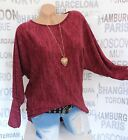 ITALY Mode Langarm Bluse Strick  Pullover Winter  Pulli  Mit Kette 36/44